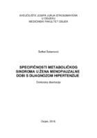 prikaz prve stranice dokumenta SPECIFIČNOSTI METABOLIČKOG  SINDROMA U ŽENA MENOPAUZALNE DOBI S DIJAGNOZOM HIPERTENZIJE